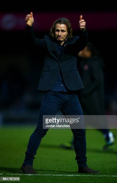Gareth Ainsworth Manager of Wycombe Wanderers shows appreciation to the fans after The Emirates FA Cup Second Round between Wycombe Wanderers and...