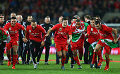 Gareth Bale and Aaron Ramsey Ashley Williams and Chris Gunter of Wales celebrate victory and qualification after the UEFA EURO 2016 qualifying Group...