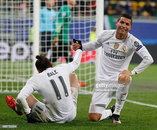 Gareth Bale and Cristianbo Ronaldo of Real Madrid celebrate after scoring during the UEFA Champions League Group A match between FC Shakhtar Donetsk...