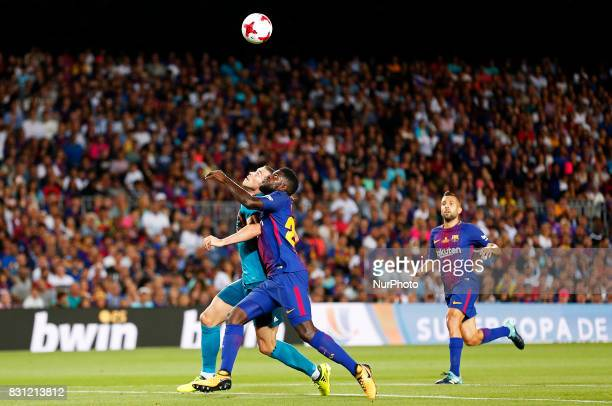 Gareth Bale and Samuel Umtiti during the spanish Super Cup match between FC Barcelona v Real Madrid in Barcelona on August 13 2017