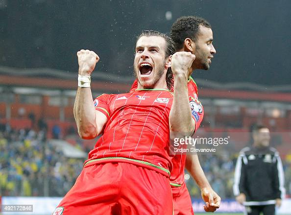 Gareth Bale celebrates after the Euro 2016 qualifying football match between Bosnia and Herzegovina and Wales at the Stadium Bilino Polje in Elbasan...