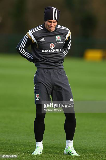 Gareth Bale during the Wales training session at The Vale Resort on November 12 2014 in Cardiff Wales