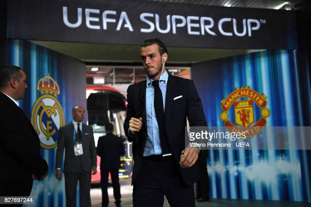 Gareth Bale of Real Madrid arrives at his dressing room ahead of the UEFA Super Cup between Real Madrid and Manchester United at Nacional Arena...