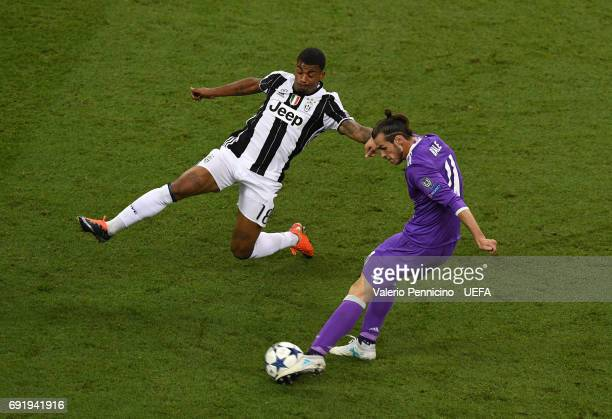 Gareth Bale of Real Madrid attempts a shot during the UEFA Champions League Final between Juventus and Real Madrid at National Stadium of Wales on...