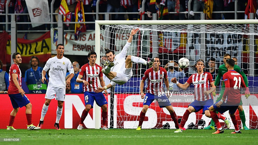 Gareth Bale of Real Madrid attempts an overhead kick during the UEFA Champions League Final between Real Madrid and Club Atletico de Madrid at Stadio Giuseppe Meazza on May 28, 2016 in Milan, Italy..