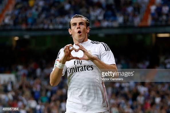 Gareth Bale of Real Madrid celebrates after scoring during the La Liga match between Real Madrid CF and Elche FC at Estadio Santiago Bernabeu on...