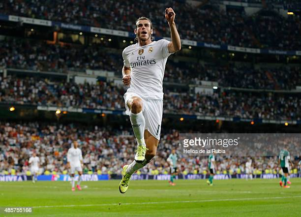 Gareth Bale of Real Madrid celebrates after scoring during the La Liga match between Real Madrid CF and Real Betis Balompie at Estadio Santiago...