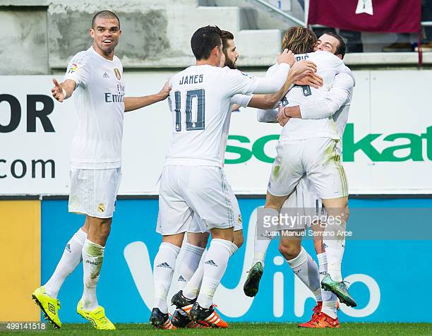 Gareth Bale of Real Madrid celebrates after scoring goal during the La Liga match between SD Eibar and Real Madrid at Ipurua Municipal Stadium on...