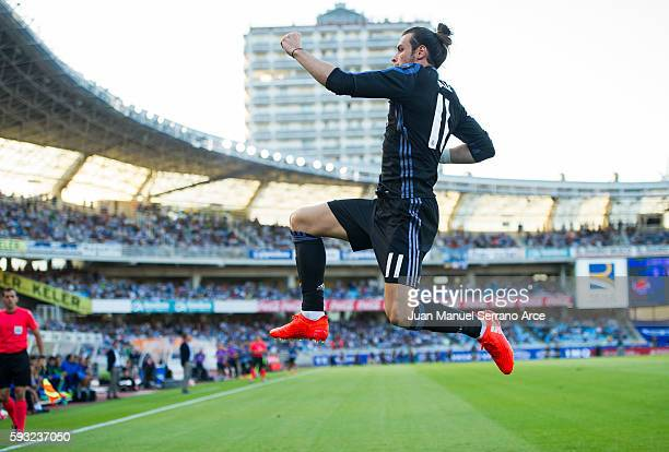 Gareth Bale of Real Madrid celebrates after scoring goal during the La Liga match between Real Sociedad de Futbol and Real Madrid at Estadio Anoeta...