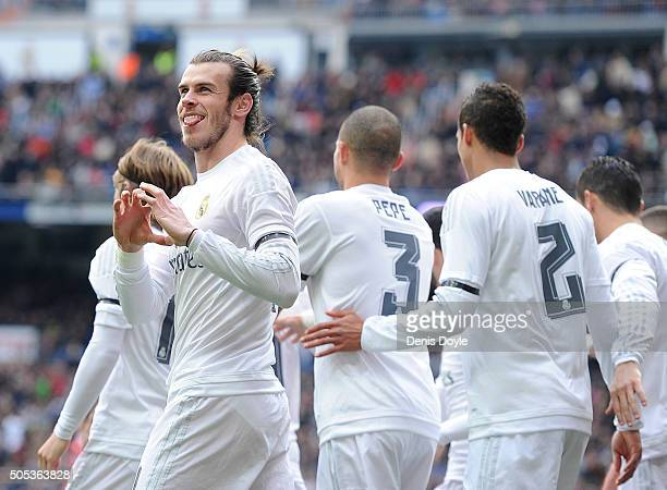 Gareth Bale of Real Madrid celebrates after scoring his team's opening goal during the La Liga match between Real Madrid CF and Sporting Gijon at...