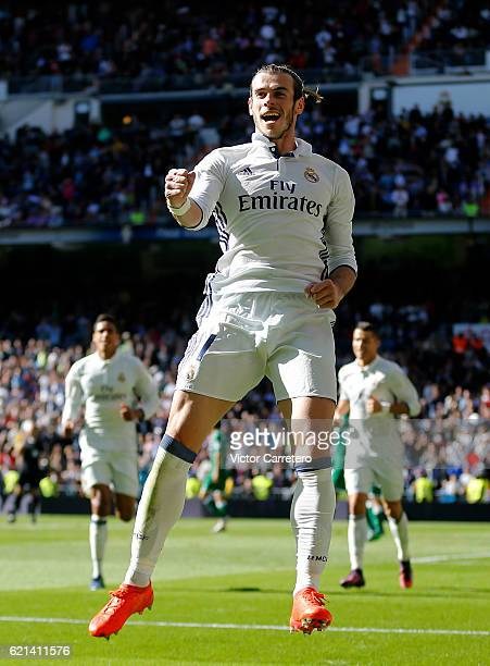 Gareth Bale of Real Madrid celebrates after scoring his team's second goal during the La Liga match between Real Madrid CF and Leganes at Estadio...
