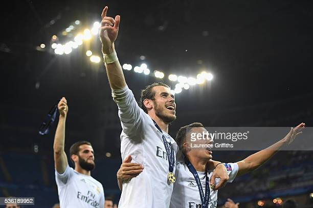 Gareth Bale of Real Madrid celebrates after victory in the UEFA Champions League Final match between Real Madrid and Club Atletico de Madrid at...