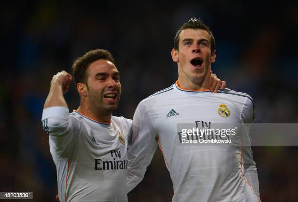 Gareth Bale of Real Madrid celebrates scoring the opening goal with Daniel Carvajal of Real Madrid during the UEFA Champions League Quarter Final...