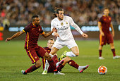 Gareth Bale of Real Madrid CF and Ashley Cole of AS Rona compete for the ball during the international friendly match between Real Madrid and AS Roma...