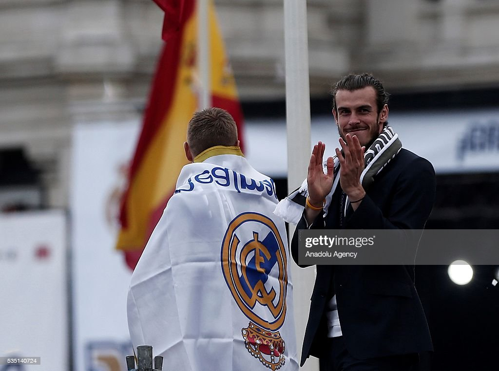 Gareth Bale of Real Madrid CF attends the celebrations at Cibeles square after winning the Uefa Champions League Final match agains Club Atletico de Madrid on May 29, 2016 in Madrid, Spain.