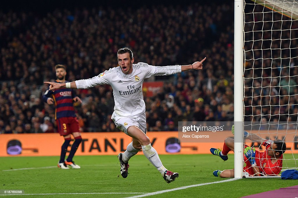 <a gi-track='captionPersonalityLinkClicked' href=/galleries/search?phrase=Gareth+Bale&family=editorial&specificpeople=609290 ng-click='$event.stopPropagation()'>Gareth Bale</a> of Real Madrid CF celebrates before having his goal disallowed during the La Liga match between FC Barcelona and Real Madrid CF at Camp Nou on April 2, 2016 in Barcelona, Spain.