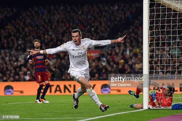 Gareth Bale of Real Madrid CF celebrates before having his goal disallowed during the La Liga match between FC Barcelona and Real Madrid CF at Camp...