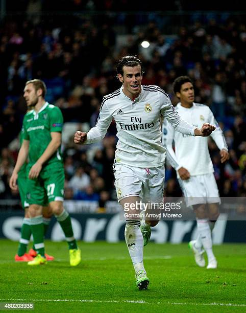 Gareth Bale of Real Madrid CF celebrates scoring their second goal during the UEFA Champions League Group B match between Real Madrid CF and PFC...