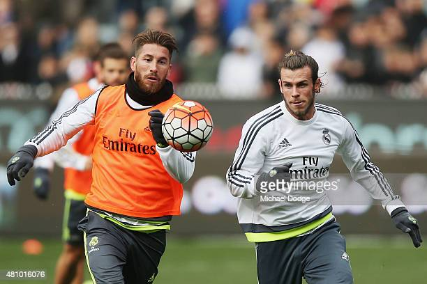 Gareth Bale of Real Madrid controls the ball against Sergio Ramos of Real Madrid during a Real Madrid training session at Melbourne Cricket Ground on...