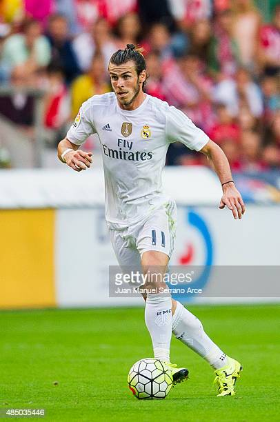 Gareth Bale of Real Madrid controls the ball during the La Liga match between Sporting Gijon and Real Madrid at Estadio El Molinon on August 23 2015...