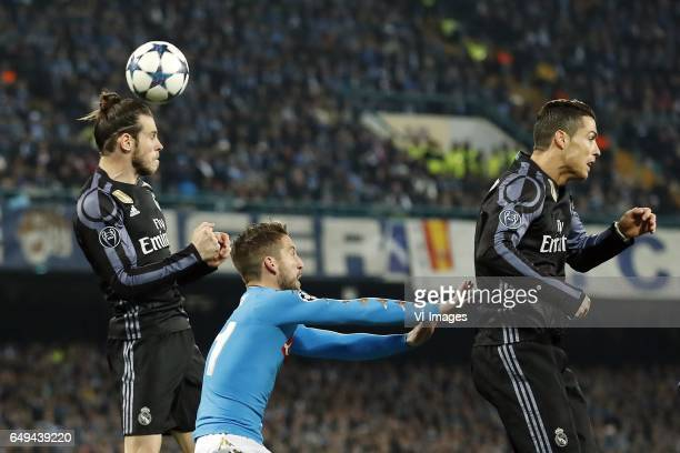 Gareth Bale of Real Madrid Dries Mertens of SSC Napoli Cristiano Ronaldo of Real Madridduring the UEFA Champions League round of 16 match between SSC...