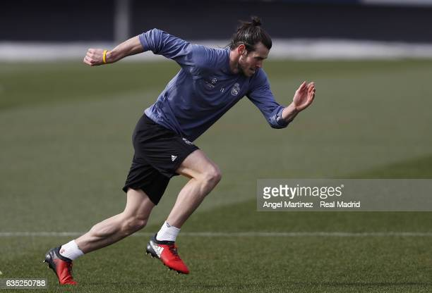 Gareth Bale of Real Madrid exercises during a training session at Valdebebas training ground on Frebuary 14 2017 in Madrid Spain