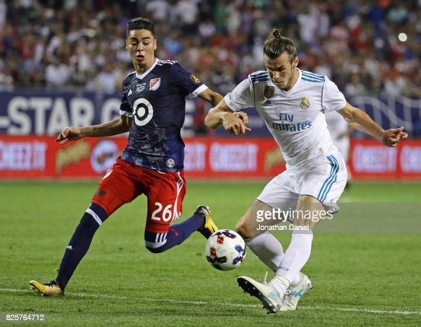 Gareth Bale of Real Madrid fires a shot past Miguel Almiron of the MLS AllStars during the 2017 MLS All Star Game at Soldier Field on August 2 2017...