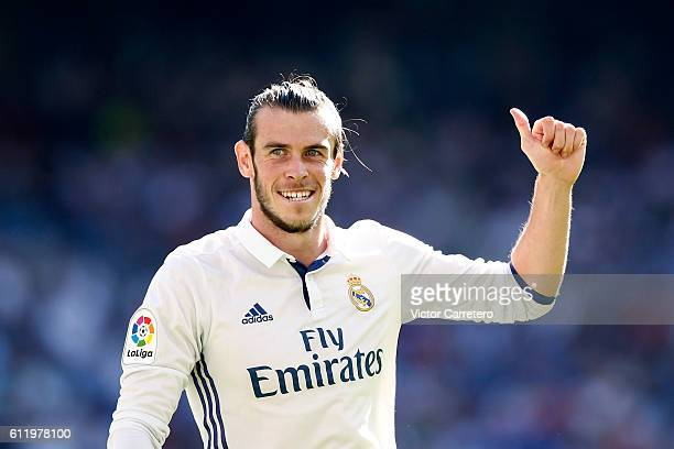 Gareth Bale of Real Madrid gestures during the La Liga match between Real Madrid CF and SD Eibar at Estadio Santiago Bernabeu on October 2 2016 in...