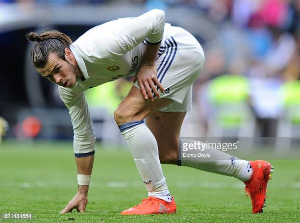 Gareth Bale of Real Madrid gets up after taking a fall during the Liga match between Real Madrid CF and Leganes on November 6 2016 in Madrid Spain
