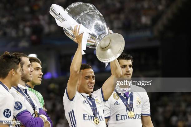 Gareth Bale of Real Madrid goalkeeper Ruben Yanez of Real Madrid Lucas Vazquez of Real Madrid Alvaro Morata of Real Madrid with Champions League...