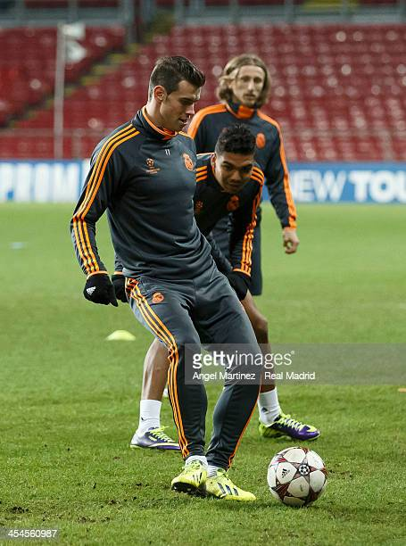 Gareth Bale of Real Madrid in action during a training session ahead of their UEFA Champions League Group B match against FC Copenhagen at Parken...