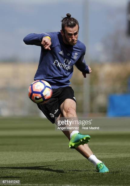 Gareth Bale of Real Madrid in action during a training session at Valdebebas training ground on April 22 2017 in Madrid Spain