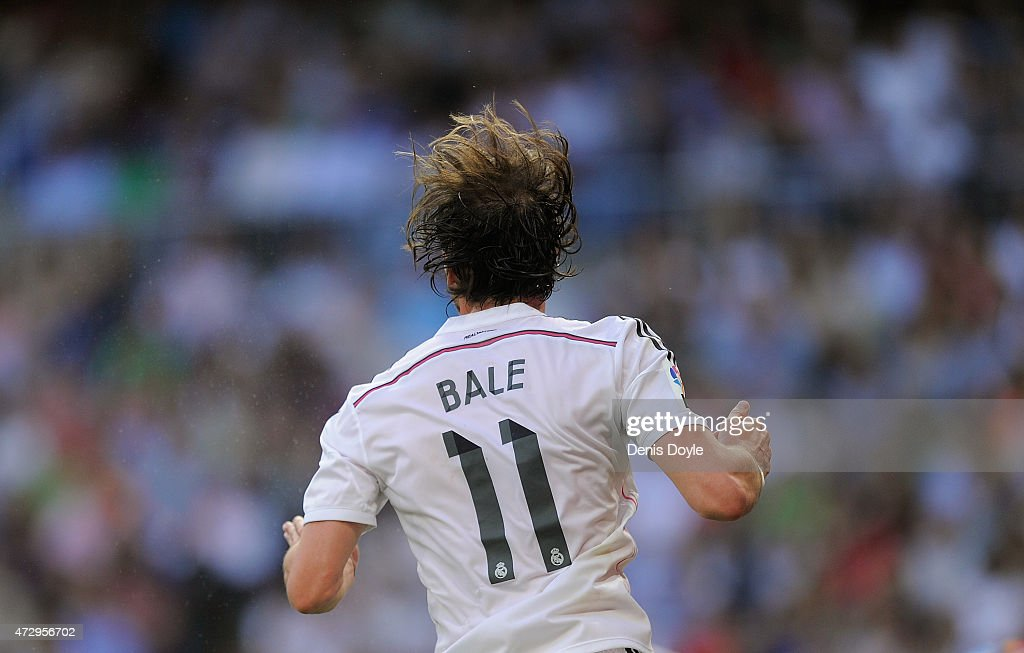 Gareth Bale of Real Madrid in action during the La Liga match between Real Madrid CF and Valencia CF at Estadio Santiago Bernabeu on May 9, 2015 in Madrid, Spain.
