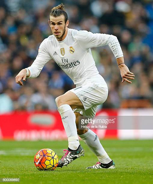 Gareth Bale of Real Madrid in action during the La Liga match between Real Madrid CF and Getafe CF at Estadio Santiago Bernabeu on December 5 2015 in...