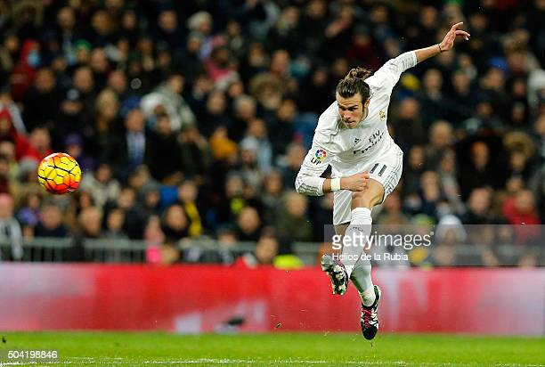 Gareth Bale of Real Madrid in action during the La Liga match between Real Madrid CF and RC Deportivo La Coruna at Estadio Santiago Bernabeu on...
