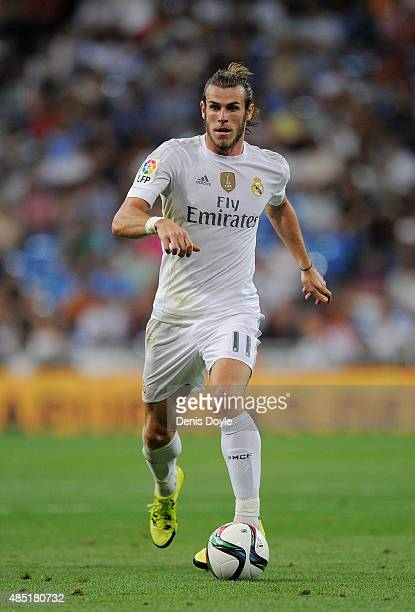 Gareth Bale of Real Madrid in action during the Santiago Bernabeu Trophy match between Real Madrid and Galatasaray at Estadio Santiago Bernabeu on...