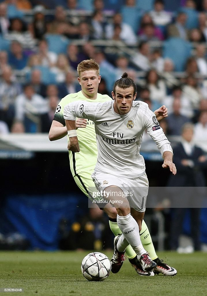 Gareth Bale (Front) of Real Madrid in action during the UEFA Champions League semi-final second leg football match between Real Madrid and Manchester City at the Santiago Bernabeu Stadium in Madrid, Spain on May 4, 2016.