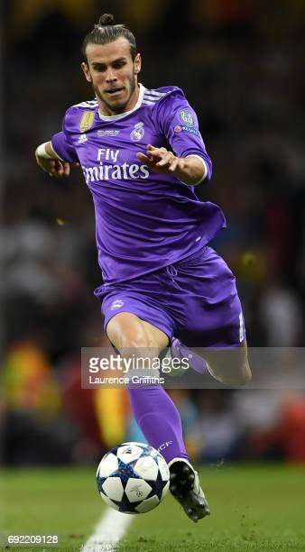 Gareth Bale of Real Madrid in action during the UEFA Champions League Final between Juventus and Real Madrid at National Stadium of Wales on June 3...