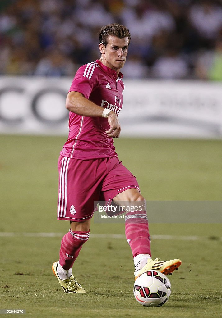 Gareth Bale of Real Madrid in actions during the pre-season between Real Madrid and Roma at Guinness International Champions Cup 2014 game at Cotton Bowl on July 29, 2014 in Dallas, Texas.