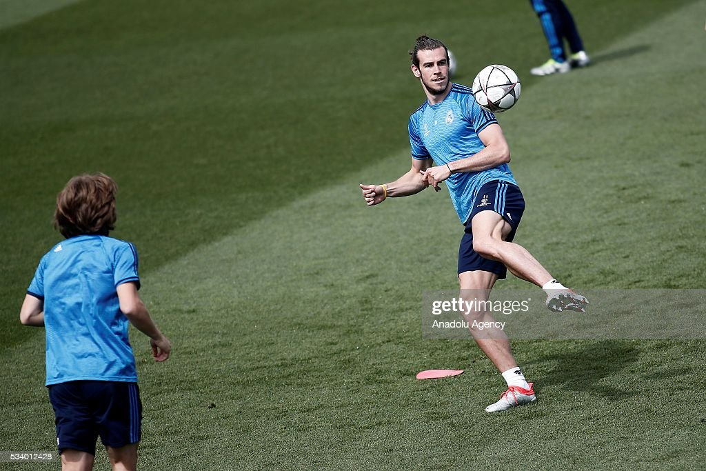 Gareth Bale of Real Madrid is seen during the team's training session at the Valdebebas's sports complex in Madrid, Spain on May 24, 2016. Real Madrid will face Atletico Madrid in the 2016 UEFA Champions League final at Guiseppe Meazza stadium in Milan, Italy on May 28, 2016.
