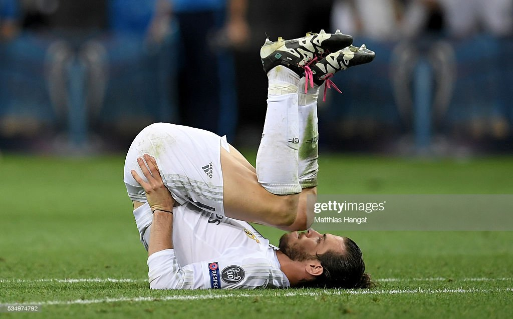 <a gi-track='captionPersonalityLinkClicked' href=/galleries/search?phrase=Gareth+Bale&family=editorial&specificpeople=609290 ng-click='$event.stopPropagation()'>Gareth Bale</a> of Real Madrid is seen during the UEFA Champions League Final match between Real Madrid and Club Atletico de Madrid at Stadio Giuseppe Meazza on May 28, 2016 in Milan, Italy.