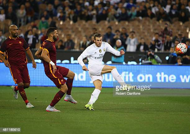 Gareth Bale of Real Madrid kicks the ball during the International Champions Cup friendly match between Real Madrid and AS Roma at the Melbourne...