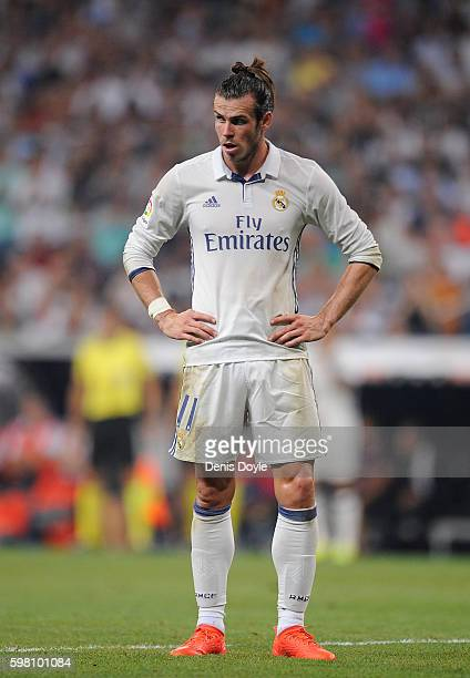 Gareth Bale of Real Madrid looks on during the La Liga match between Real Madrid CF and RC Celta de Vigo at Estadio Santiago Bernabeu on August 27...