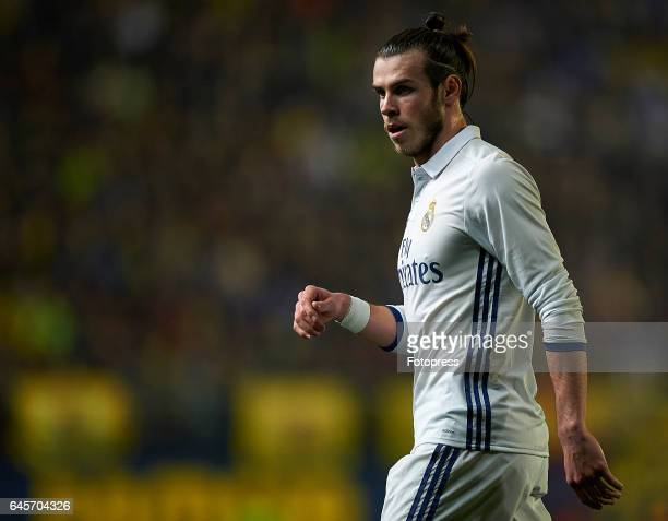 Gareth Bale of Real Madrid looks on during the La Liga match between Villarreal CF and Real Madrid at Estadio de la Ceramica on February 26 2017 in...