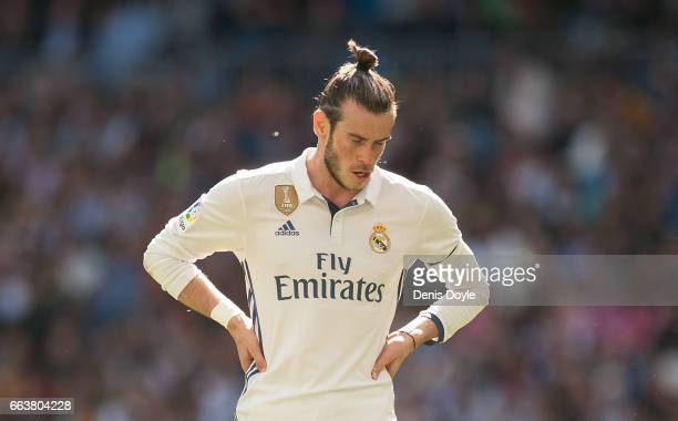 Gareth Bale of Real Madrid looks on during the La Liga match between Real Madrid CF and Deportivo Alaves on April 2 2017 in Madrid Spain