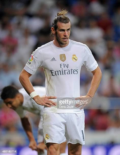 Gareth Bale of Real Madrid looks on during the Santiago Bernabeu Trophy match between Real Madrid and Galatasaray at Estadio Santiago Bernabeu on...