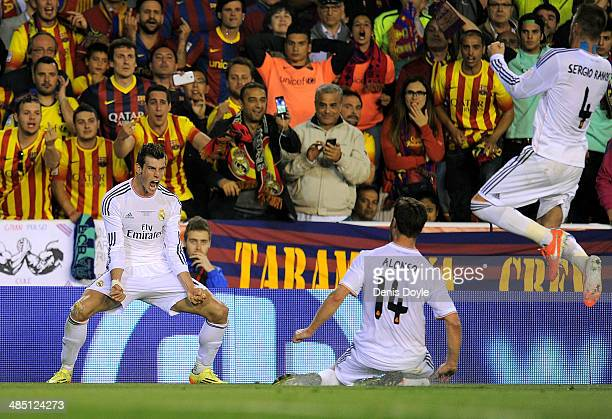 Gareth Bale of Real Madrid reacts after scoring Real's 2nd goal during the opa del Rey Final between Real Madrid and Barcelona at Estadio Mestalla on...