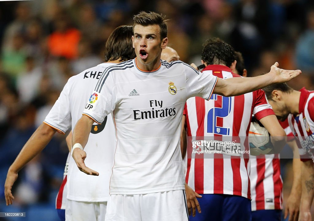 Gareth Bale of Real Madrid reacts during the La Liga match between Real Madrid and Club Atletico de Madrid at Estadio Santiago Bernabeu on September 28, 2013 in Madrid, Spain.