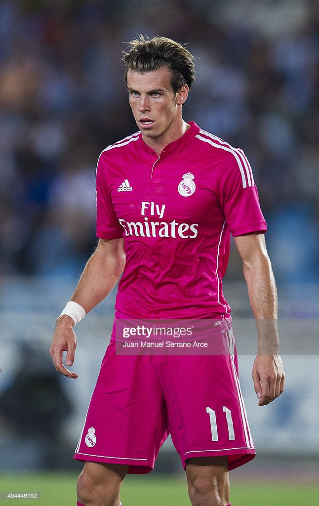 Gareth Bale of Real Madrid reacts during the La Liga match between Real Sociedad and Real Madrid CF at Estadio Anoeta on August 31, 2014 in San Sebastian, Spain.