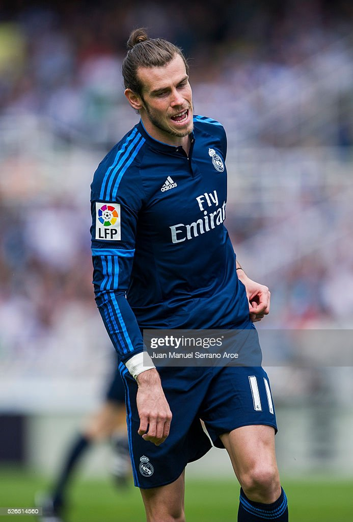 Gareth Bale of Real Madrid reacts during the La Liga match between Real Sociedad de Futbol and Real Madrid at Estadio Anoeta on April 30, 2016 in San Sebastian, Spain.